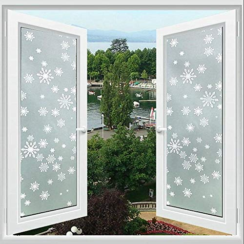 ZHXK Self-Adhesive Privacy Window Film, Opaque Frosted Glass Window Sticker, 45 * 300cm Anti-UV Static Clings for Office Kitchen or Home Decorative (Snowflake)