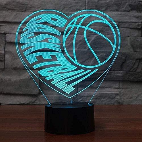 3D ilusión visual corazón baloncesto lámpara LED acrílico transparente 3D noche luz led Lampa 16 color cambiante táctil bulbing Lightin