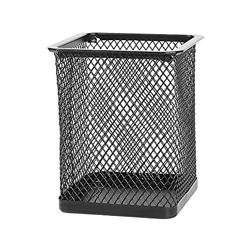 WENDAO Portalápices de metal negro de malla de metal para bolígrafos, soporte para bolígrafos, organizador de escritorio, oficina, material escolar, portalápices (A)