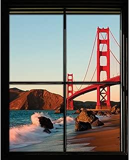 Walls 360 Peel & Stick Wall Decals Window Views Golden Gate Bridge San Francisco (9 in x 12 in)
