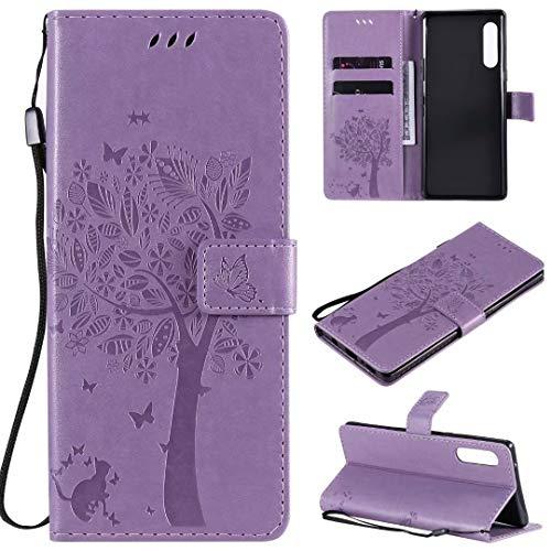 Miagon für Huawei Y8P Geldbörse Wallet Case,PU Leder Baum Katze Schmetterling Flip Cover Klapphülle Tasche Schutzhülle mit Magnet Handschlaufe Strap