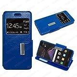 MELOENVIAS Funda Carcasa Tipo Libro con Funcion Soporte para Huawei P8 Lite 2017 Cuero Cierre iman con Ventana S-View Color Azul