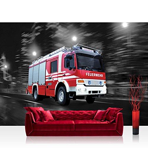 Vlies Fototapete 200x140 cm PREMIUM PLUS Wand Foto Tapete Wand Bild Vliestapete - Skylines Tapete Feuerwehr Auto Nacht Lichter Skyline rot - no. 541
