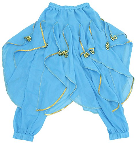 DFギャラリー ハーレムパンツ ベリーダンス衣装 玉飾り付 BA0416 ターコイズ キッズフリー(100〜140cm)