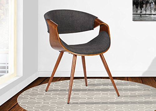Armen Living  Butterfly Dining Chair in Charcoal Fabric and Walnut Wood Finish