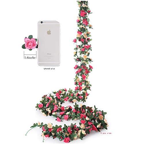 Meiliy 4 Pcs 8.2 FT Fake Rose Vine Flowers Plants Artificial Flower Garland Home Hotel Office Wedding Party Garden Craft Art Decor, Pink…