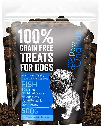 Fish Grain Free Dog Training Treats - 1000 Tasty Treat Pack - Packed With Omega 3,6,9 & D3 - 80% Fish, 20% Potato & Sweet Potato - Hypoallergenic Treats for Dogs with Sensitive Stomachs - Gluten Free