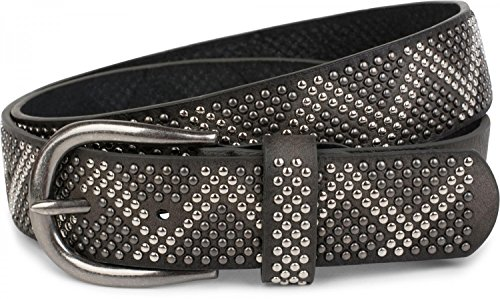 styleBREAKER cinturón de remaches con remaches bicolores en apariencia de picos, cinturón «vintage», acortable, unisex 03010069, tamaño:100cm, color:Gris oscuro (Ropa)