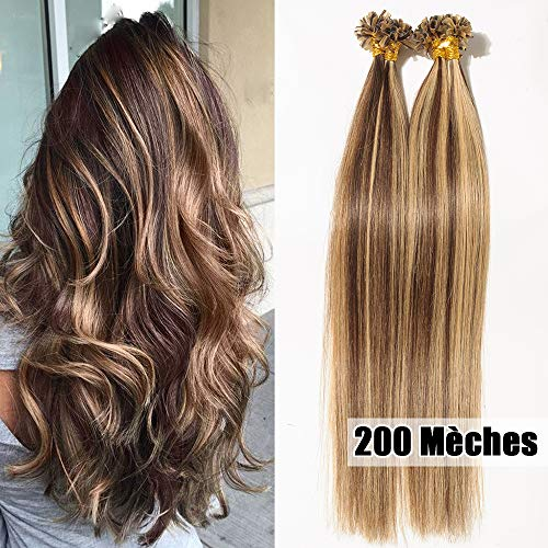 Echthaar Bondings Extensions 200 Strähnen x 0,5 - Remy Haarverlängerung 55cm mittel braun/dunkelblond #4/27