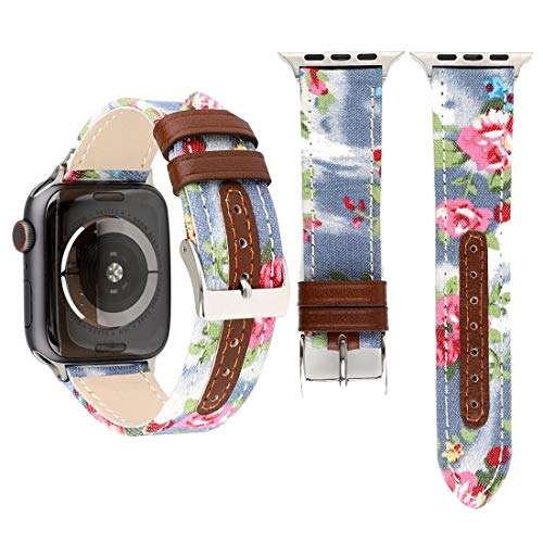 Ujyguiy Mira la Correa Denim patrón de Flores de Cuero Genuino for Apple Seguir Serie 3 y 2 y 1 c 42mm (Negro) (Color : Baby Blue)