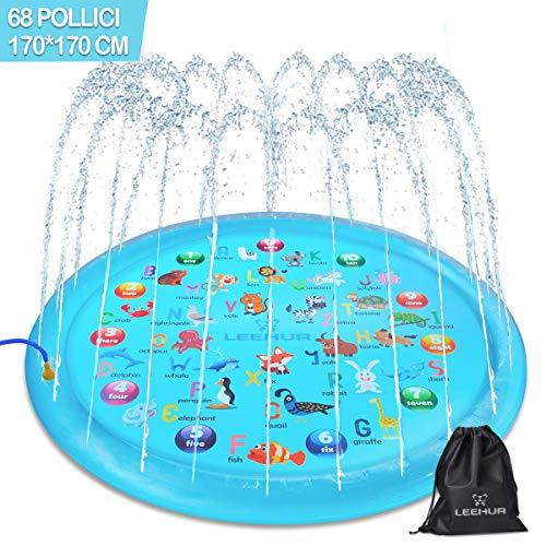 Tappetino Gioco d'Acqua per Bambini 170cm/68in Splash Play Mat, Splash Pad Gioco di Spruzzi d'Acqua Tappetino Gonfiabile per giochi da giardino e piscine, Giochi d'Acqua Estivi all'Aperto Portatile