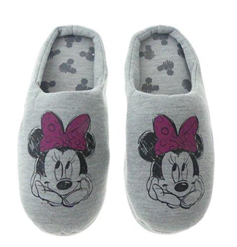 Hausschuhe Damen weich Disney Minnie Mouse grau warm Kinder Schlappen Slipper (36-37)