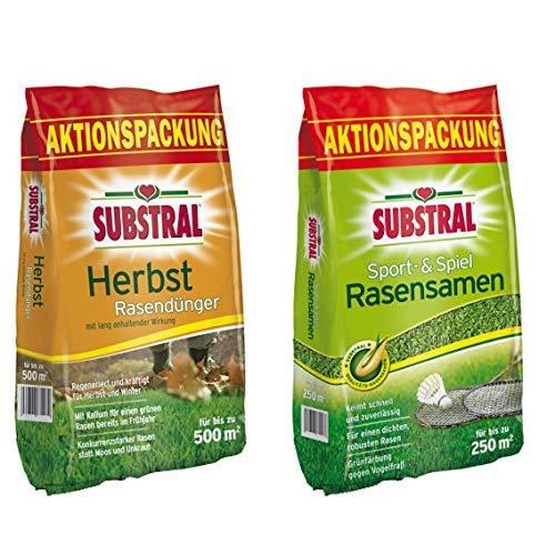Substral 8243 Herbst Rasendünger f. 500 m² - 12,5 kg & Rasensamen Sport und Spiel, Schnell keimende strapazierfähige Rasensaat-Mischung mit Grünfärbung gegen Vogelfraß, 5 kg für 250 m²
