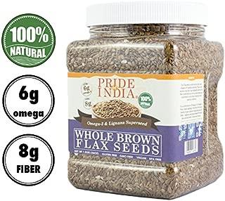 Pride Of India - Whole Brown Flax Seeds - Omega-3 & Lignan Superfood, 1.4 Pound (22oz) Jar