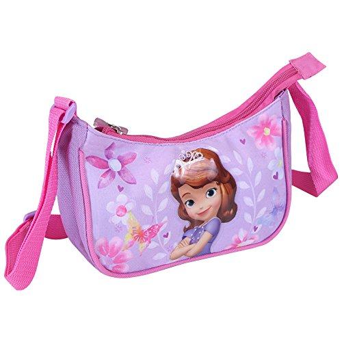 PERLETTI Kinder Umhängetasche für Mädchen Disney - Kleine Umhänge mit Motiven aus Prinzessin Sofia die Erste - Tasche für Reisen und Freizeit - Violett und Rosa 19x10x6 cm