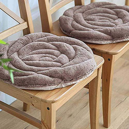 FakeFace Morbido Cuscino alla Moda, per Sedia da Pranzo, Divano, Poltrona, Sedia a rotelle, Rotondo, a Forma di Rosa Grigio