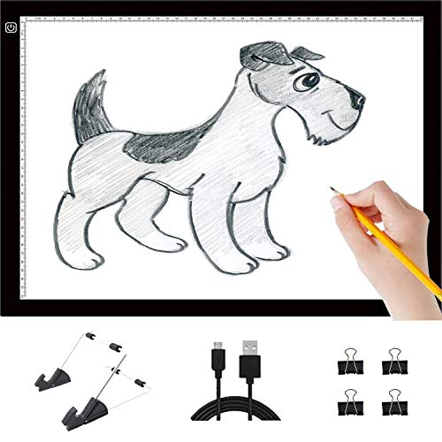 Light Pad,Light Box for tracing,Tracing Light Box,Adjustable LED Light USB Power A4 Ultra-Thin Tablet Board Pad for 5D Diamond Painting Tattoo Transferring Animation Sketching X-ray Viewing Quilting