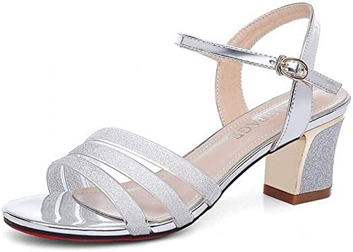 LTN Ltd - - - sandals épais avec Un Mot avec des Sandales été Femme avec des Chaussures de Jupe Chaussures à Talons Hauts Romain Femmes, Argent, 37 edc