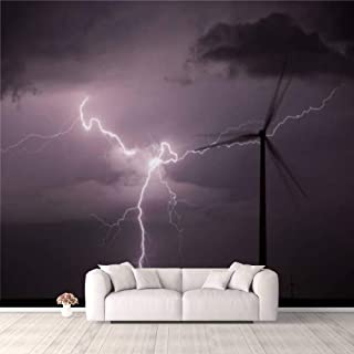Modern 3D PVC Design Removable Wallpaper for Bedroom Living Room Thunderstorm over a wind farm Wallpaper Stick and Peel Wa...