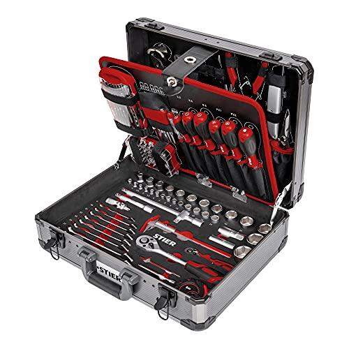 STIER Universal-Werkzeugsortiment im Aluminiumkoffer 144-teilig, Werkzeugkoffer bestückt gefüllt,...