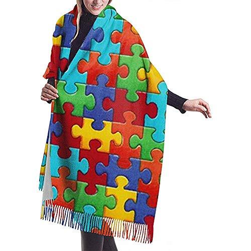 LisaArticles Damessjaal, kleurrijke puzzel, mooie, aantrekkelijke sjaalverpakking, voor gymzaal, klimmen en kamperen