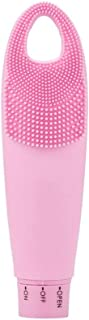 Electronic Facial Brush Cleaner, IPX7 Waterproof Dual Facial Cleaning Friendly Brush Massager for Deep Pore Cleansing (Pink)