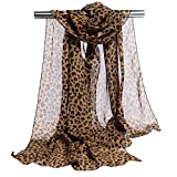 Bufanda de Leopardo Estampado de Leopardo de Moda Bufandas Largas de Gasa Abrigo de Mantón para Mujeres o Niñas