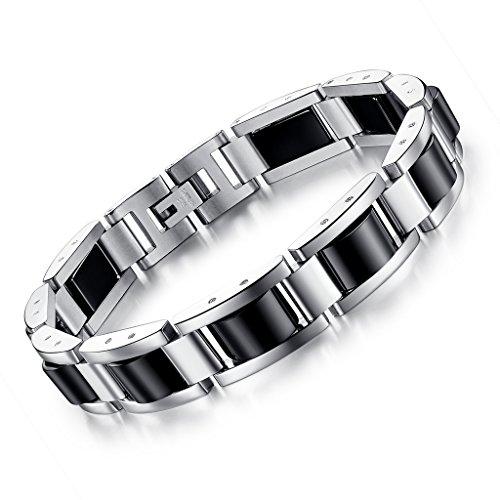 bigshopDE Herren-Armband Silber Schwarz Hämatit Edelstahl Armreif Armschmuck, Länge 22 cm