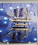 lovedomi Marine Dekoration Duschvorhang Blau Magic Neon Licht Taschenlampe auf Segelspiegel Reflektion verführerischer Yacht Duschvorhang Wasserdicht Polyester Stoff Duschvorhang 182,9 x 182,9 cm