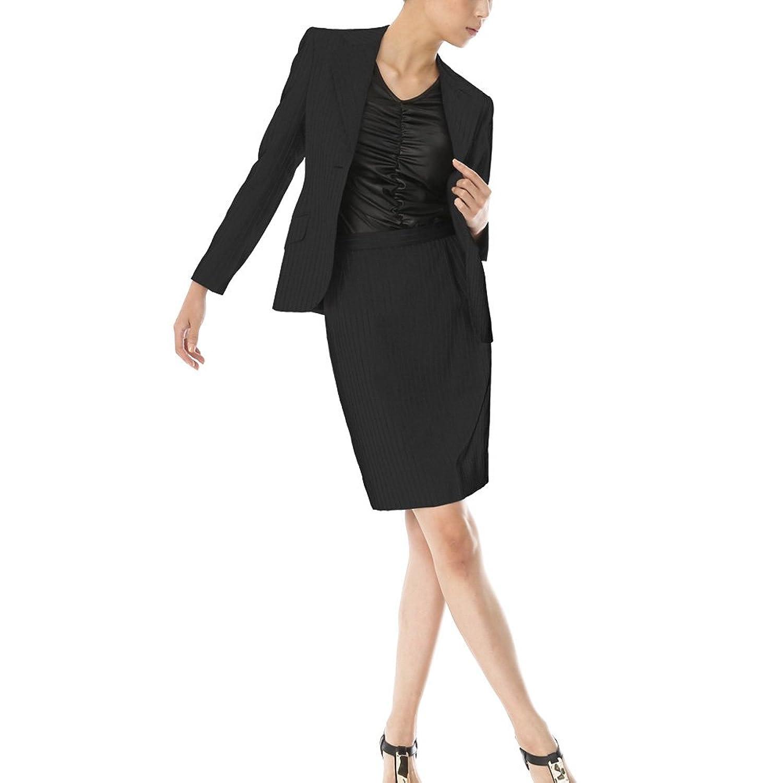スカートスーツ リクルートスーツ レディススーツ ブラックストライプ 就活 7号 上下別サイズ対応スーツ