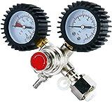 Kacsoo Regulador de Presión de CO2 Regulador de Soldadura de CO2 de Calibre Doble para Cerveza de Barril Homebrew Kegerator Válvula de Alivio de Presión de Seguridad 0-3000 PSI Presión de Tanques