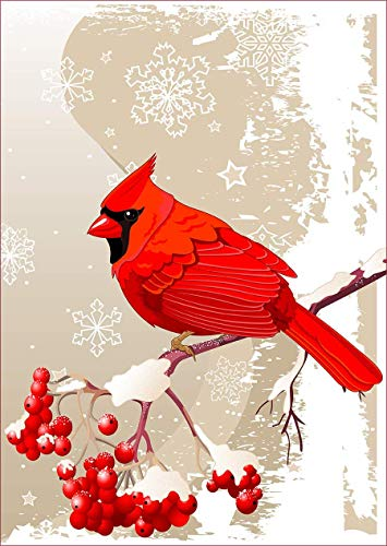 uHome Red Cardinal Bird Garden Flag, Winter Snow Background, Double-Sided, Winter/Christmas Yard Flag to Bright Up Your Garden 12.5' x 18' (Red Cardinal)