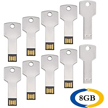 8 GB Pendrive 10 Pack Llave Shape Memoria USB 2.0 Metal Flash Drive Color Plata U Disco Uflatek Impermeable Memory Stick Almacenamiento de Datos Regalos Promocionales: Amazon.es: Electrónica