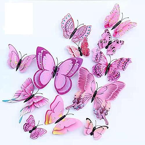 12 pegatinas de pared de simulación 3D con mariposas para sala de estar, dormitorio, decoración de pared, pegatinas para habitación infantil, autoadhesivas, removibles, decoración del hogar (rosa)
