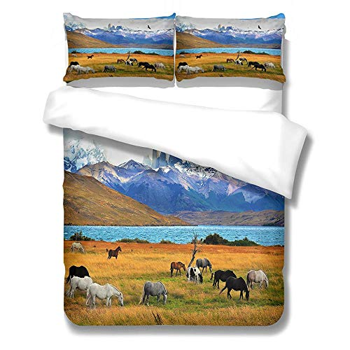 Duvet Cover Set King-Zipper Closure with 2 Pillow covers Bedding Set Ultra Soft Hypoallergenic Microfiber Quilt Cover Sets grassland