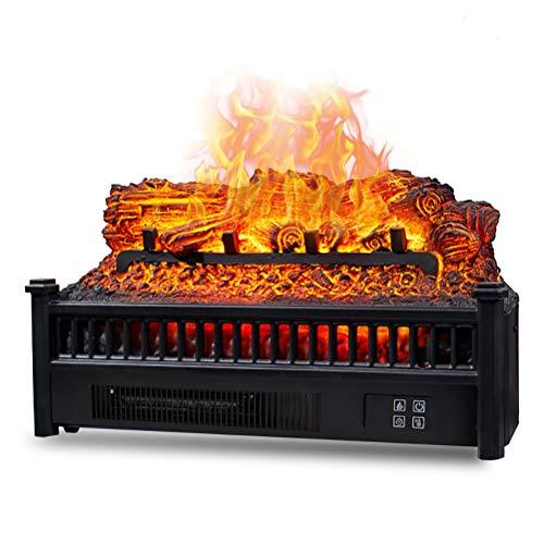 ANYWN Ewige Flamme Elektrokaminen Heizung, Elektro-Kamineinsatz Log-Quarz-Realistic Glutbett Heizlüfter mit Infrarot-Fernbedienung schwarz