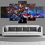 WYJIE Decoración para el hogar Arte de la Pared 5 Piezas Película The Avengers Bandera Americana y cómics Iron Man Poster Impresión en Lienzo Pintura Obras de Arte modernasFramed30x40cm30x60cm30x80cm