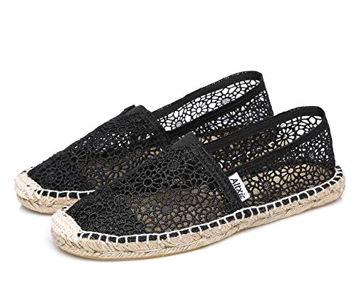 Altxic Women's Casual Breathable Hollow Out Comfort Braided Espadrilles Black 7.5 US