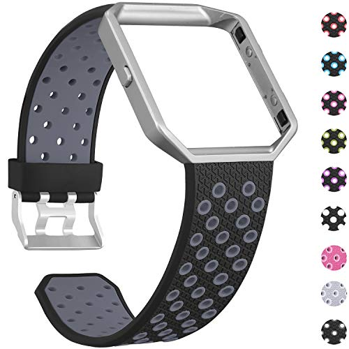 SKYLET Compatible with Fitbit Blaze Bands for Men Women, Soft Silicone Breathable Replacement Sport Wristbands with Frame Compatible with Fitbit Blaze Smart Watch Black-Gray