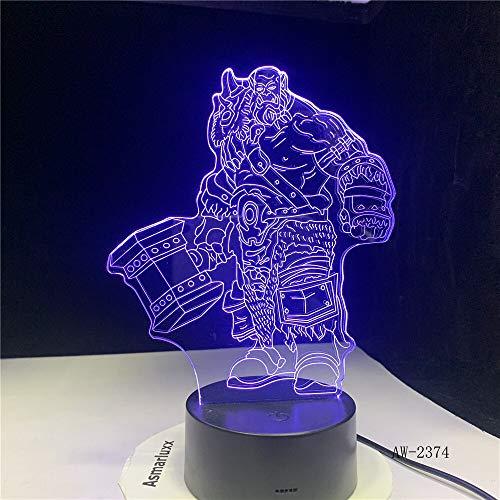 Baobaoshop 3D Illusion Wow Orgrim Tribal Signs 7 Mesa de Escritorio de Color Lámpara de luz Nocturna Niños niños