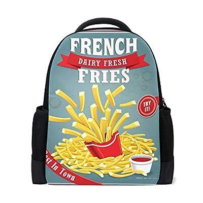Sac à dos d'école, vintage français frites, sacs d'école, sacs pour ordinateur portable, sac à dos pour garçons et filles