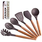 Maphyton Silicone Cooking Utensils, 6 Pieces Nonstick Kitchen Tool Set with Natural Acacia Hard Wood...
