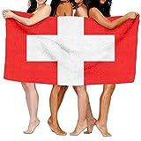 Tcerlcir Strandtuch Badetuch Saunatuch Duschtuch Ultra Leicht Handtuch Schnelltrocknend Saugfähiges Sporthandtuch Flagge der Schweiz 130X80cm