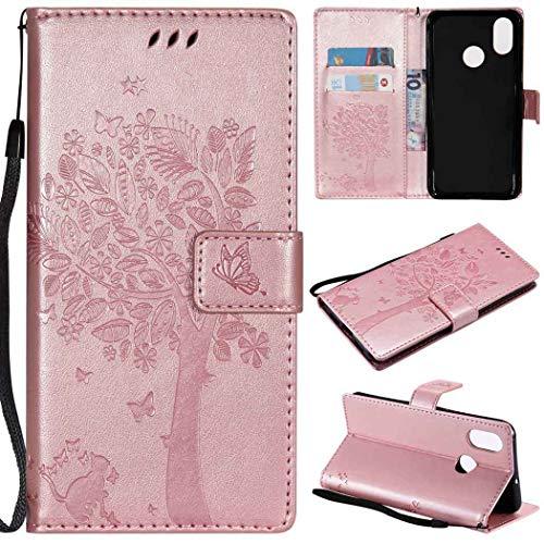 Ycloud Billetera Funda para Xiaomi Mi 7 / Xiaomi Mi 8 Smartphone, PU Cuero Flip Magnético Carcasa con Soporte y Ranura para Tarjeta Gato y árbol en Relieve (Oro Rosa)