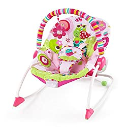 Adorable girl-inspired fashion and a seat that converts from bouncer to rocker. Seat can rock back and forth to soothe, or can be set to a fixed position for small babies and older toddlers Soothe baby with two recline positions and calming vibe. Toy...