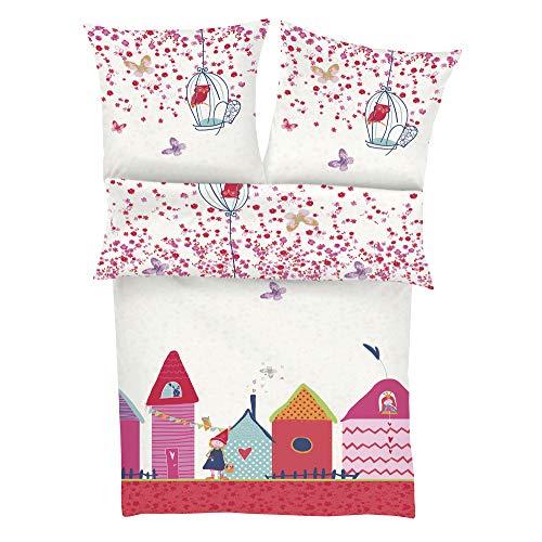 s.Oliver Bettwäsche Prinzessin 100x135cm, 100% Baumwolle, Kinderbettwäsche pink, Babybettwäsche, 2 teiliges Set aus Deckenbezug 100x135cm und Kissenhülle 40x60cm, Reißverschluss
