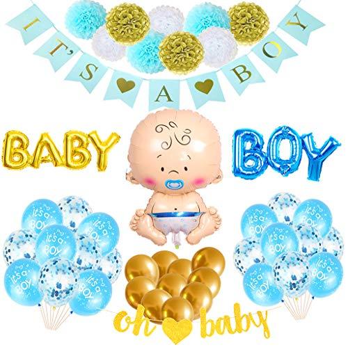 Baby Shower Deco para niño Babyshower Deco Blue Set   IT'S A BOY guirnalda, oh pancarta de bebé, globo de helio de bebé, globo de lámina chupete, globos con confeti, globos de látex, pompones de papel