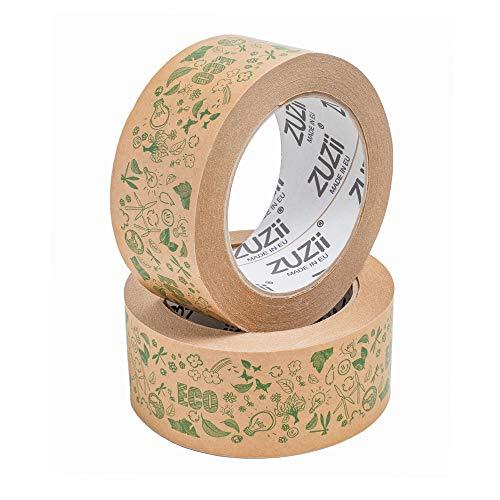 Zuzii Papier-Klebeband | Kraft Packband | Deko Verpackungsband | Eco Umweltfreundlich | 48mm x 50M | 4 Rollen Pack