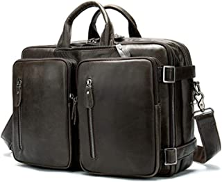 Leather Business Men's Briefcase 14-inches Laptop Bag Large Capacity Cross Section Shoulder Slung Briefcase Backpack Casual Vintage Style (Color : Brown, Size : 37x26x13cm) Elise