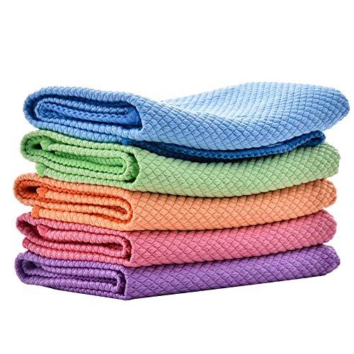 XIAOLIYU Polierreinigungstuch für Fischschuppen aus mikrofaser, Mikrofaser-Reinigungstücher zum Waschen von Geschirrtüchern und Geschirrtüchern Putztücher für Küche (5PC)